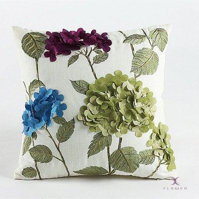 【夏法羅 傢飾】卡米亞仿麻布立體花布刺繡抱枕 靠墊 腰枕 XP-02