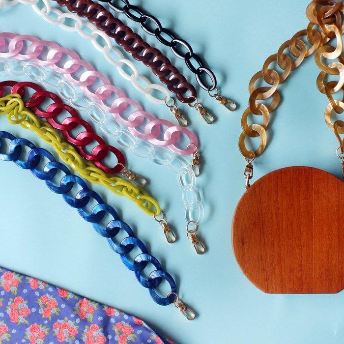 淘淘樂-自制亞克力鏈條復古彩色vintage時髦包帶女包獨特粗鏈肩帶包配件