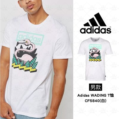 Adidas Logo 男 運動短袖 短T 休閒 慢跑 棉T 舒適 透氣 衣服 白 CF5840