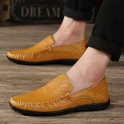 【時尚先生男裝】大碼男鞋2020春夏男鞋駕車鞋套腳男士皮鞋鞋子牛皮豆豆鞋懶人英倫 2005240967