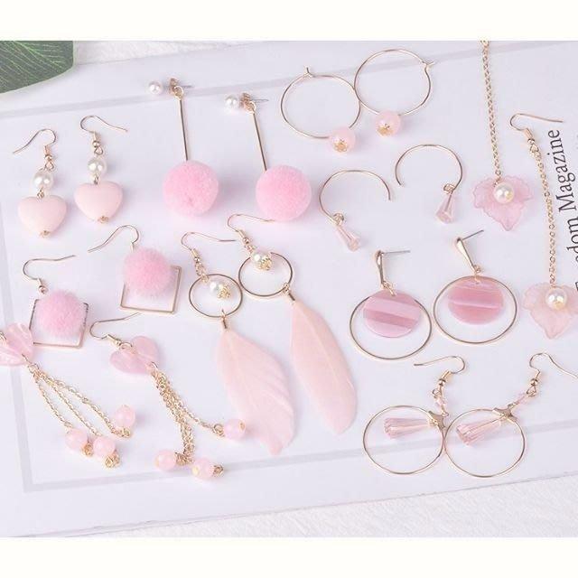 diy耳環材料包 緞帶 流蘇 自製耳釘耳飾品耳墜配件 10對款 韓粉色款  兩套材料包贈分類盒 11