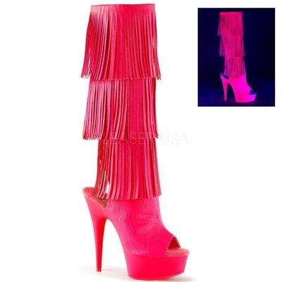 Shoes InStyle《六吋》美國品牌 PLEASER 原廠正品霓虹螢光流蘇厚底高跟魚口及膝中長筒馬靴出清『桃紅色』