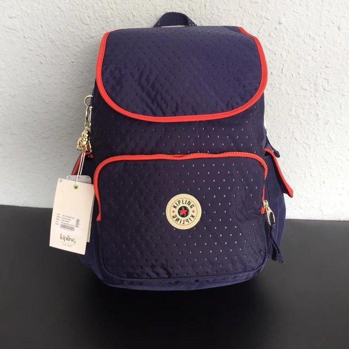 凱莉代購 Kipling k12147 K12811 深藍洐縫 翻蓋雙肩揹包 預購