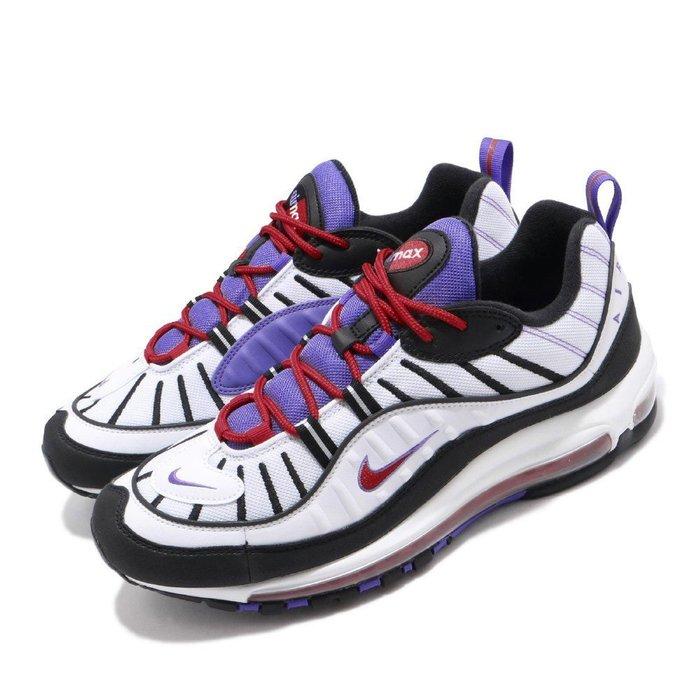 POMELO柚 NIKE AIR MAX 98 復古 運動鞋 慢跑鞋 白黑藍紅 640744-110 男生