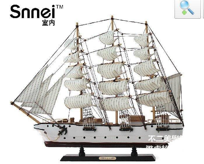 【格倫雅】^送禮佳品Snnei室內 60CM大帆船模型 豪華實木制船模 地中海風格35