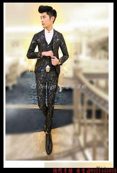 秋冬新款韓版修身休閑西服理發師魔術西服男夜店全套西裝套裝男 大小尺寸西裝1