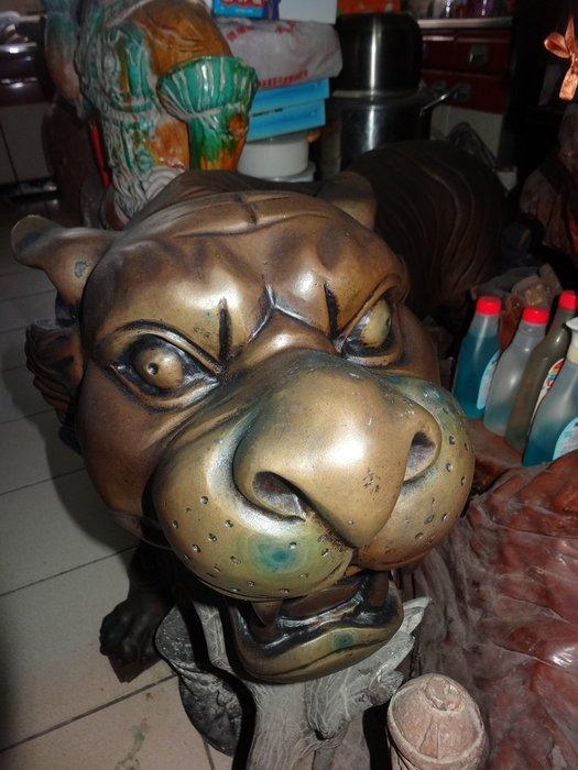 【御寶閣Viboger】古董 文物 藝品 字畫 化石~銅雕 老虎 大型銅雕 老銅雕 銅虎 銅雕虎 銅雕老件
