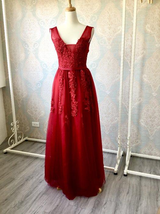 just Queen 實拍 紅色古典蕾絲長版禮服 晚禮服 晚宴 結婚 訂婚 新娘 伴娘 尾牙 派對 寫真 婚紗 婚禮