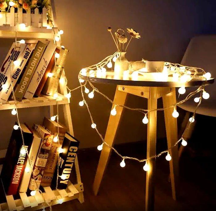現貨~勤美市集擺攤御用5米50燈龍珠小圓球小白球LED燈串星星燈帶燈條滿天星婚禮聖誕彩燈節日燈