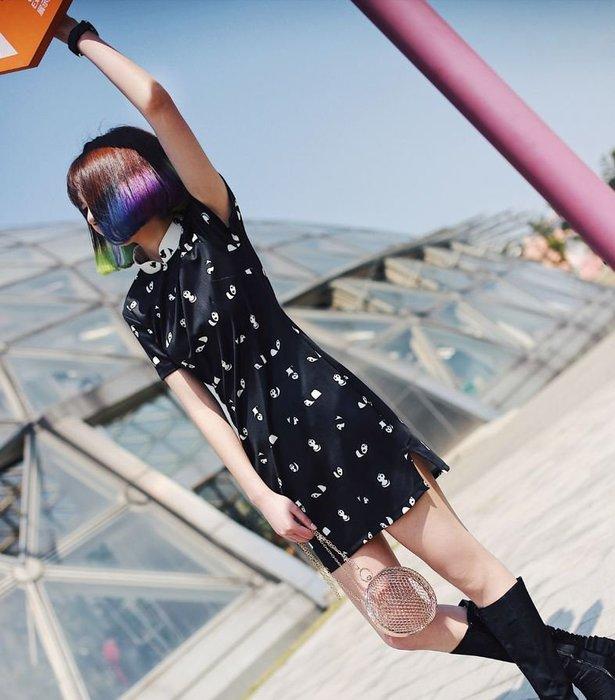 【鳳眼夫人】原創訂製款 熊貓 復古民國少女可愛動物印花旗袍領合身包臀黑色連身裙 休閒洋裝俏皮日常旗袍畢業舞會大尺碼洋裝
