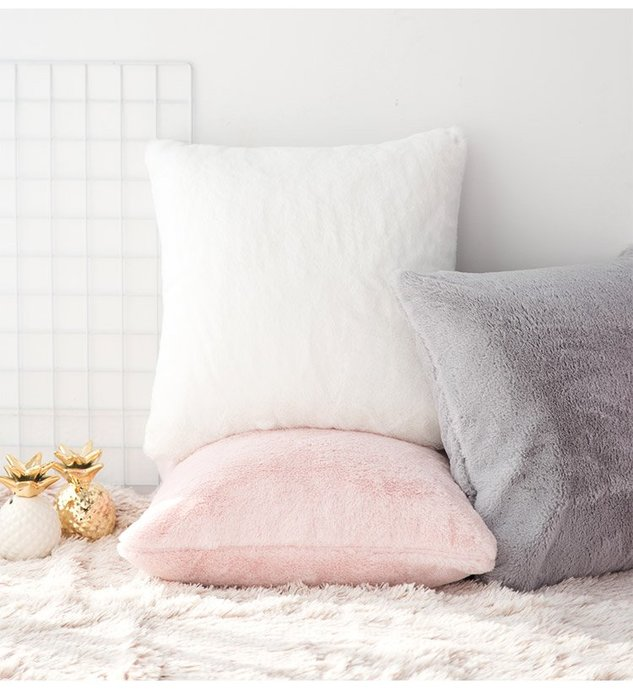 輕柔毛絨抱枕套 仿兔毛抱枕套 方形抱枕 腰枕 靠枕 沙發抱枕 少女心 房間 咖啡廳店面裝飾