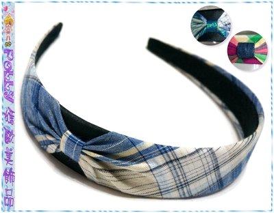 ☆POLLY媽☆歐美進口turban headband金蔥格紋棉布側抓褶頭巾式髮箍~3款