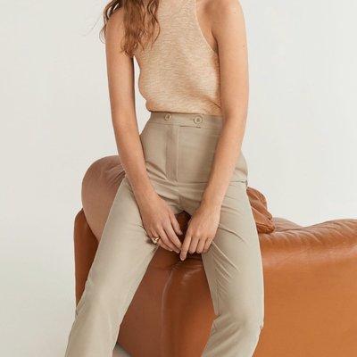 Mango light beige kaki button pants trousers blouse 外國超靚cutting米杏色淺卡其色舒適直腳西褲 襯衫