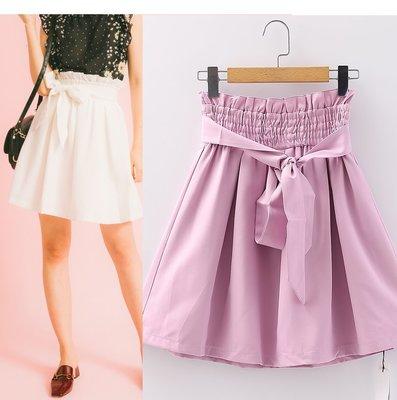 【WildLady】 日本質感百搭簡約純色腰帶A字裙 短裙COCO DEAL RENA*