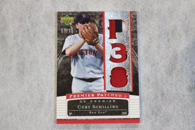傳奇球星~Curt Schilling 2007 UD Premier 限量90張~銀版~三格厚Patch~紅襪隊~