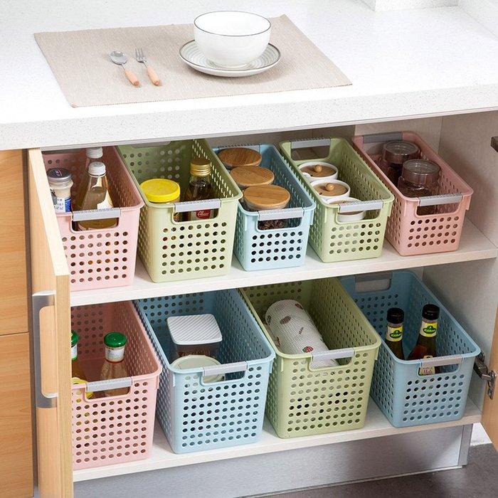 分格 密封 收納架 置物籃塑料收納籃廚房櫥柜收納儲物籃小籃子桌面收納筐浴室長方形收納框