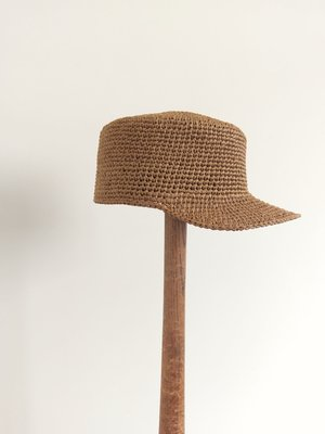 土包做~手工編織焦糖色草帽/棒球帽~可摺疊攜帶!
