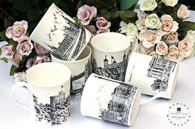 馬克杯--英國進口骨瓷繪製點線名景建築...