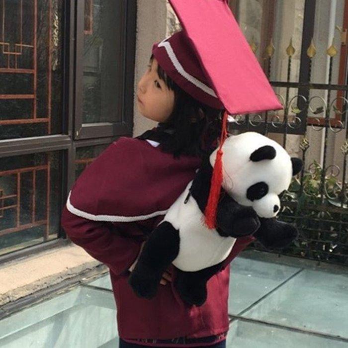 熊貓兒童背包雙肩包包幼兒園書包毛絨玩具小寶寶卡通公仔男女朋友Y-優思思