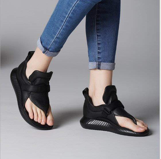 ~皮皮創~原創設計手工女鞋。時髦真皮涼鞋高幫夾腳鞋露趾鞋頭層牛皮涼鞋羅馬鞋
