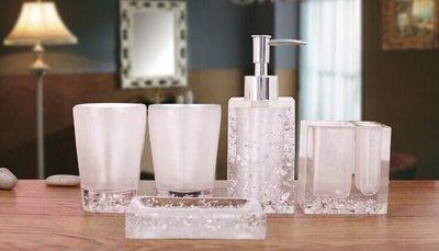 ❤伊頓家居❤白色衛浴套裝 樹脂洗漱套裝 高檔 歐式衛浴六件套 新婚禮物 浴室用品