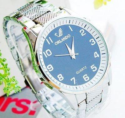 【Asiahito】鋼帶手表 時尚大盤鋼帶手表 經典大氣男士表 商務學生 手表批發 BLACK