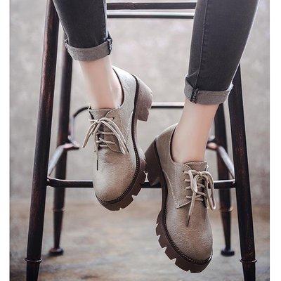 英倫復古女娃娃鞋 秋季新款英倫風女鞋復古百搭中跟布洛克單鞋粗跟軟妹小皮鞋女 99