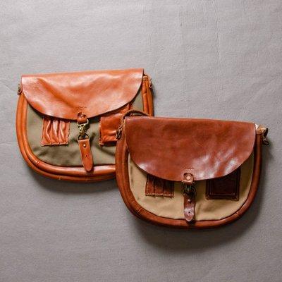 牛仔偵探 Sturdy Luggage Supply 櫪木多脂皮革 帆布拼接 植側背包