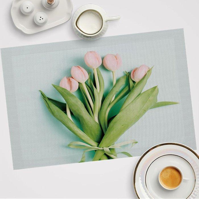 枝葉 小清新隔熱墊 PVC餐桌 防燙墊歐式防水餐盤墊西餐墊杯墊定制