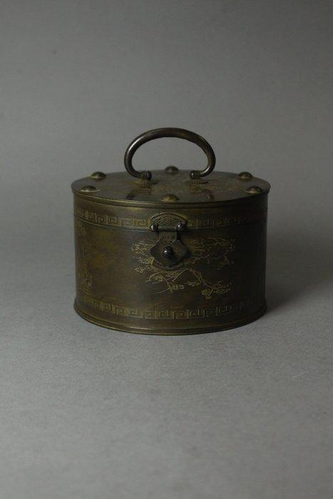 悅年堂 --- 民國二年 銅 鴛鴦戲荷圖 蓋盒