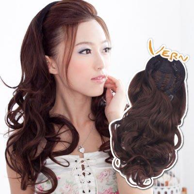 韋恩假髮-半頂髮箍式長捲髮-平價優質髮片-輕鬆配戴韓系露額氣質名媛款-嚴選日本髮絲-Vernhair【VH11202】