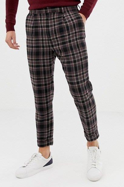◎美國代買◎ASOS黑紅格子印花有蓋口袋設計反摺褲口復古英倫雅痞風混羊毛八分格子長褲~歐美街風~大尺碼
