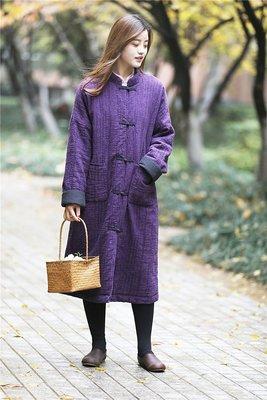 中國風立領夾棉開衫長袍/保暖外套(老銀屋)