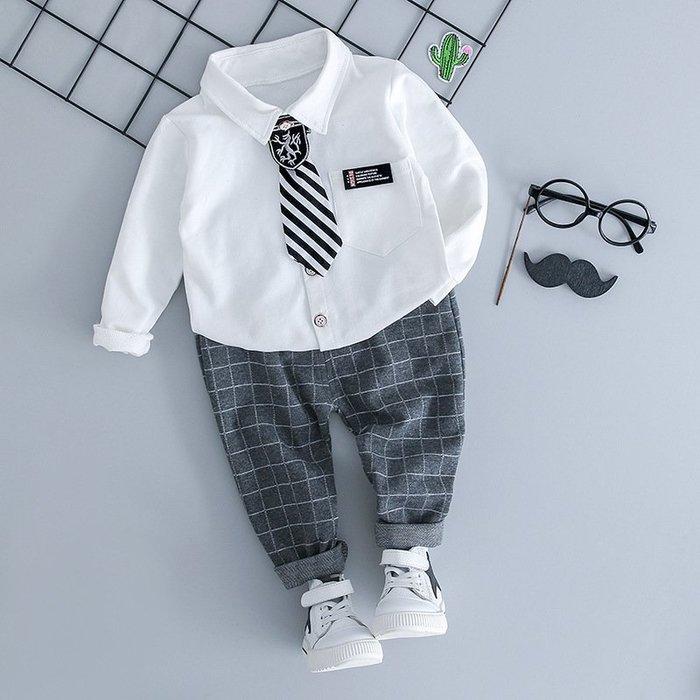 現貨 男小童花童豎條紋西裝套裝二件套