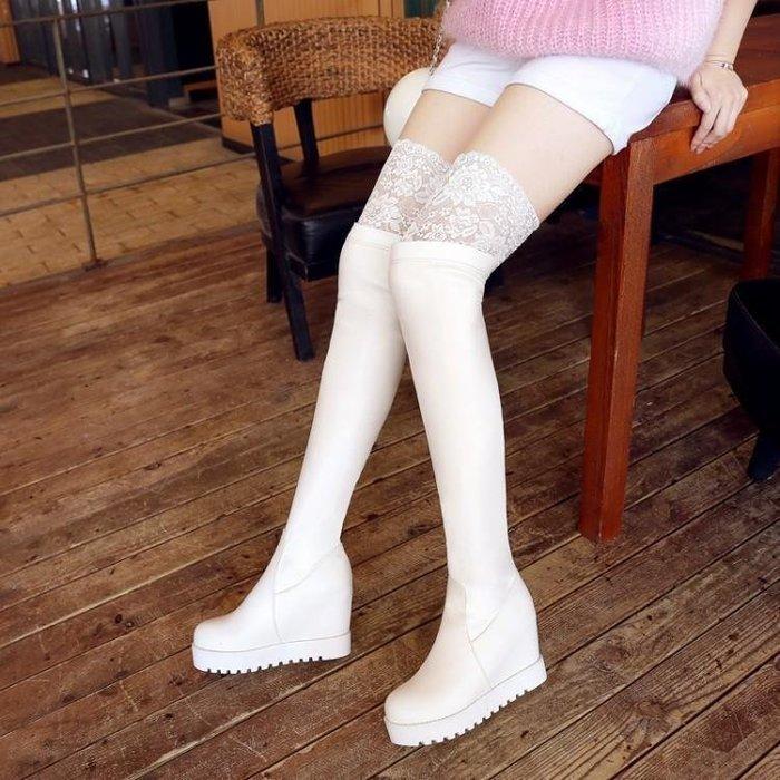 日和生活館 年秋季新款女靴子紅色蕾絲過膝長靴坡跟長筒靴絨面彈力靴 350D88
