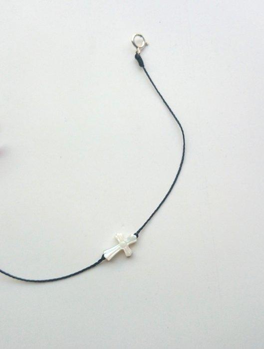 [Le Bonheur Line] 幸福線 手工/ 貝殼 白蝶貝 十字架 /白色 手鍊 飾品 防水 手線 純銀 扣頭