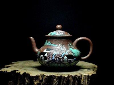大金壺-早期原礦老紫泥  土胎漂亮 手工精湛   貼花 點彩 聲音清脆響亮   柴燒   王慧雯製