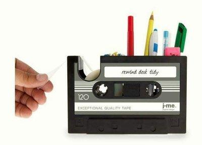 復古錄音帶收納筆筒 辦公室療癒系小物 多 筆筒 文具盒 桌上收納 辦公桌收納盒 置物盒 筆筒 辦公桌面收納盒 桌面整理盒置物盒
