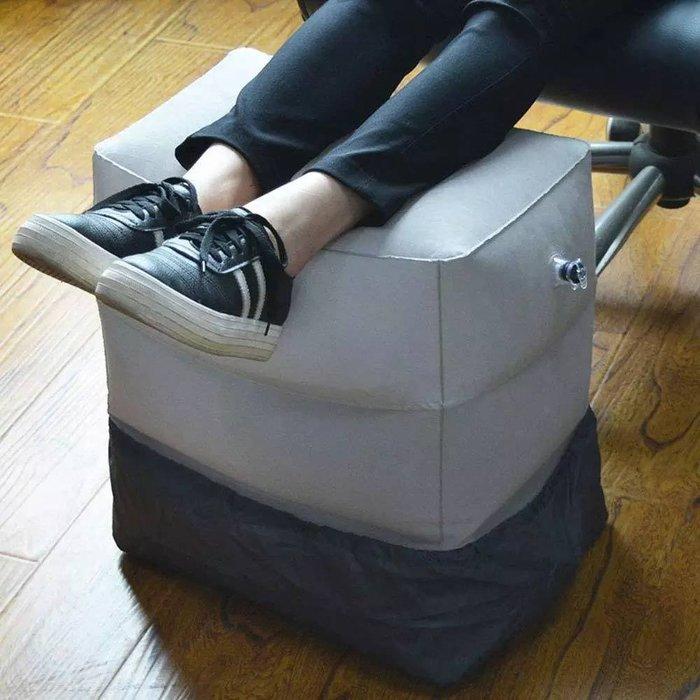 植絨旅行充氣腳墊三層腳凳送防髒套收納袋 飛機高鐵保暖足踏擱腳墊 折疊可調節腳墊 靠墊 腳枕