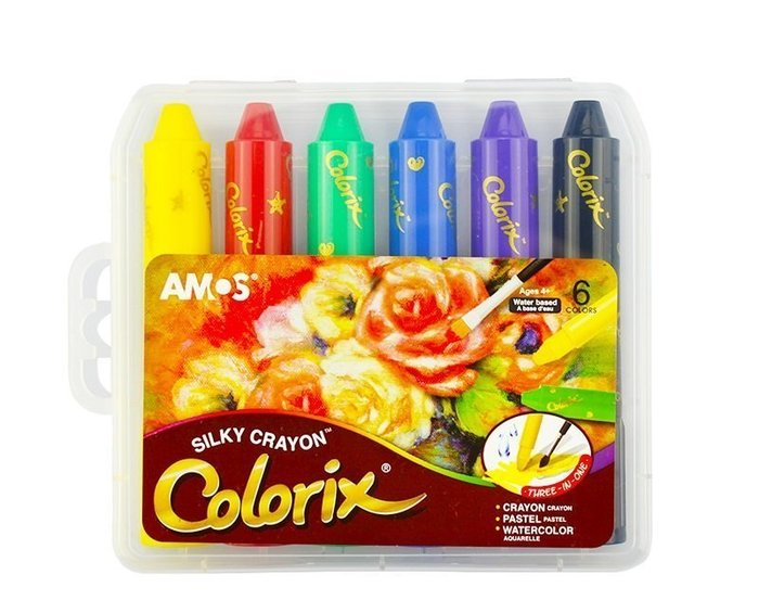『粗款6色』【韓國AMOS 國際英文版】旋轉式蠟筆 筆筒含筆套 水溶性 多用途 粉彩 水彩 無毒 阿摩司水蠟筆