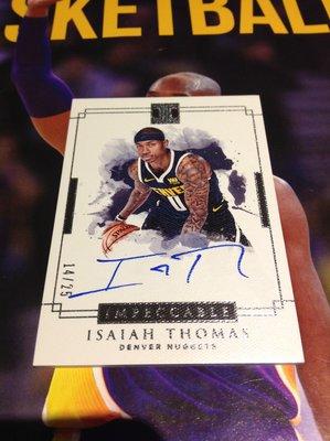 18 19 Impeccable - Isaiah Thomas 限量/25 銀版卡面簽名卡