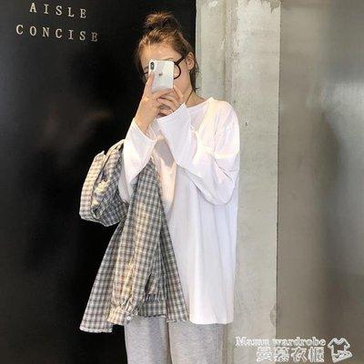 限時免運~長袖T恤 初戀早秋2021新款百搭長袖打底衫純棉上衣韓版寬鬆白色T恤女內搭