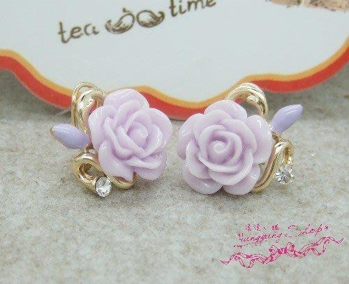 *。漾漾小舖*。粉嫩的超貴氣的玫瑰花特別耳扣不鏽鋼針耳環˙精鍍白K【A2434】☆°