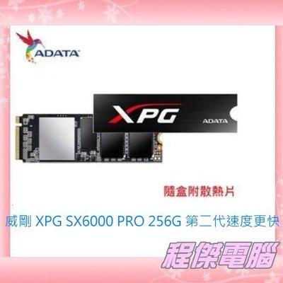 『高雄程傑電腦』威剛 ADATA SX6000 PRO 256GB 散熱片版 (PCIe M.2 2280)【新品上市】