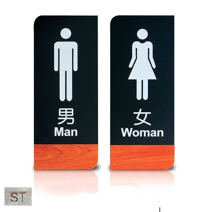 【松鐵工藝家居】現貨 復古工業風美式loft洗手間男女衛生間指示牌廁所標識牌標示牌亞克力門牌定制木紋餐廳咖啡廳