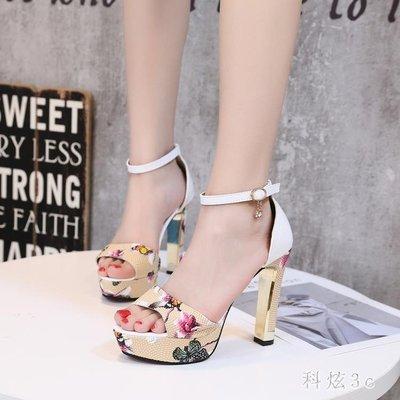 歐美新款中大尺碼一字扣魚嘴涼鞋防水臺露趾性感花色細跟高跟涼鞋女 js5939