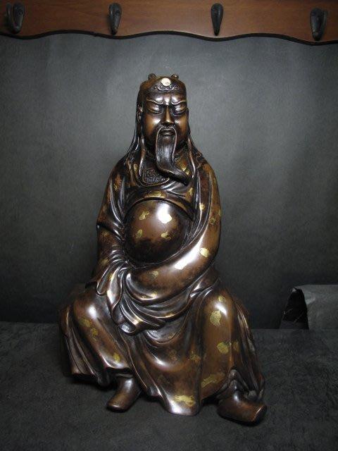老銅雕◎ 灑金   關帝聖君 關公【大明宣德年製 款】