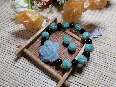 緬甸玉A貨翡翠~綠花珠手鍊(珠約11.5mm,共10顆)