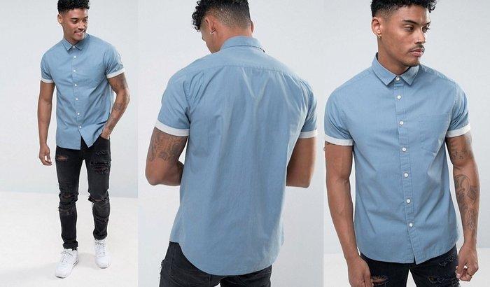 ◎美國代買◎ASOS反摺袖口藍色經典百搭款純棉短袖襯衫上衣~大尺碼~英倫街風