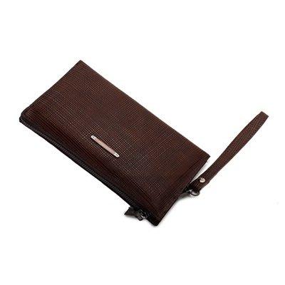 真皮手拿包(2入)-十字紋牛皮軟面大容量男包包2色73pp634[獨家進口][巴黎精品]